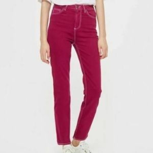 TopShop Magenta Moto Cassis Straight Leg Jeans